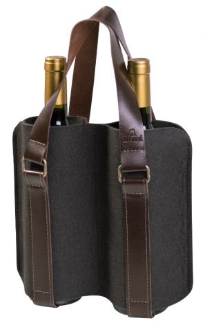 Porta-vinho Mistral em feltro com alça de couro para 2 garrafas - Cinza Chumbo