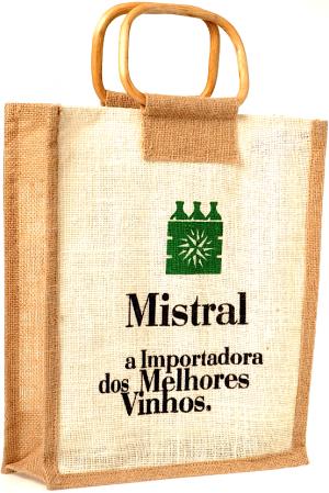 Sacola Mistral com alça de cana para 3 garrafas